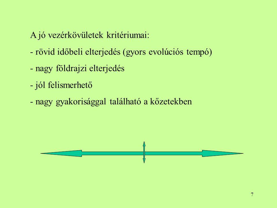 7 A jó vezérkövületek kritériumai: - rövid időbeli elterjedés (gyors evolúciós tempó) - nagy földrajzi elterjedés - jól felismerhető - nagy gyakoriság