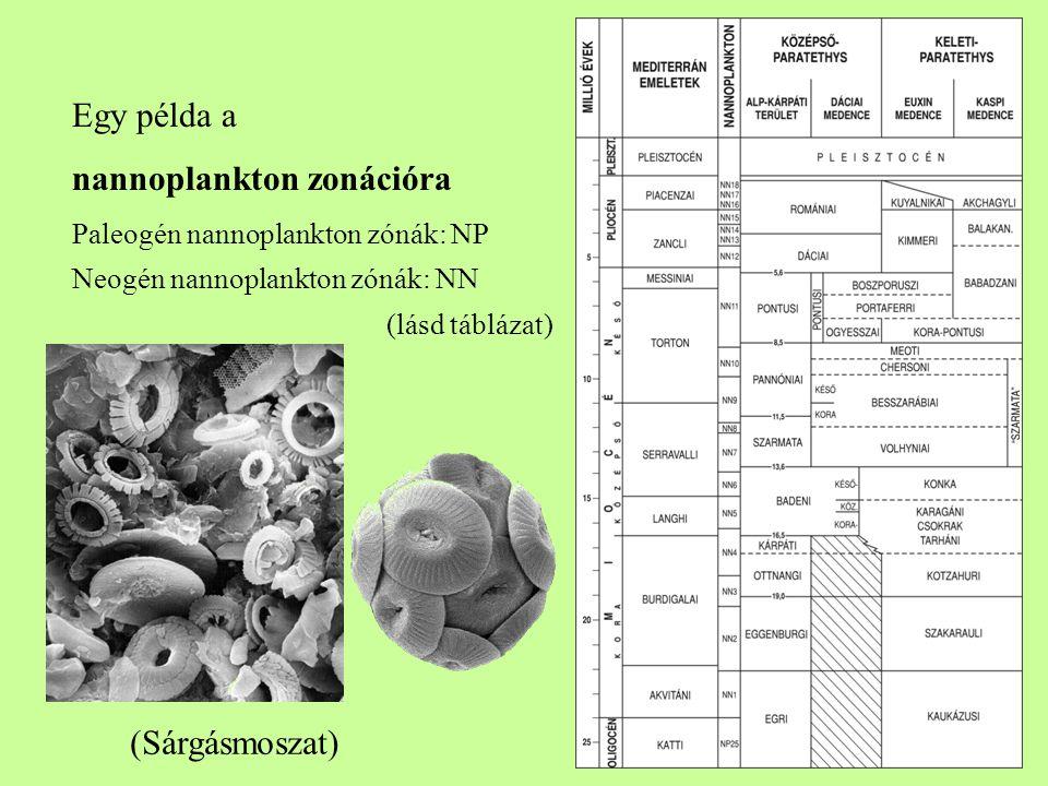 8 Egy példa a nannoplankton zonációra Paleogén nannoplankton zónák: NP Neogén nannoplankton zónák: NN (lásd táblázat) (Sárgásmoszat)