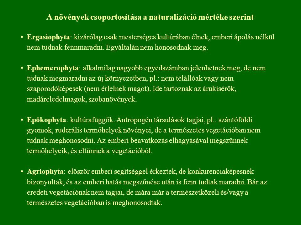 A növények csoportosítása a naturalizáció mértéke szerint Ergasiophyta: kizárólag csak mesterséges kultúrában élnek, emberi ápolás nélkül nem tudnak f