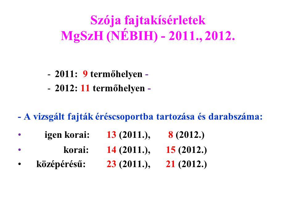 Szója fajtakísérletek MgSzH (NÉBIH) - 2011., 2012.