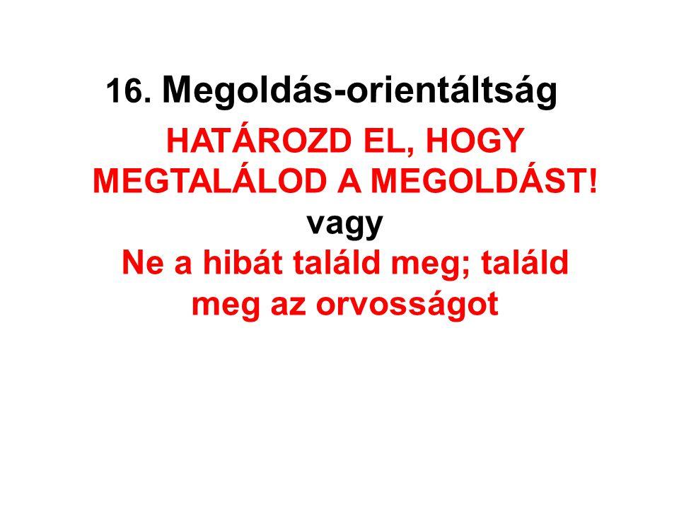 16. Megoldás-orientáltság HATÁROZD EL, HOGY MEGTALÁLOD A MEGOLDÁST! vagy Ne a hibát találd meg; találd meg az orvosságot