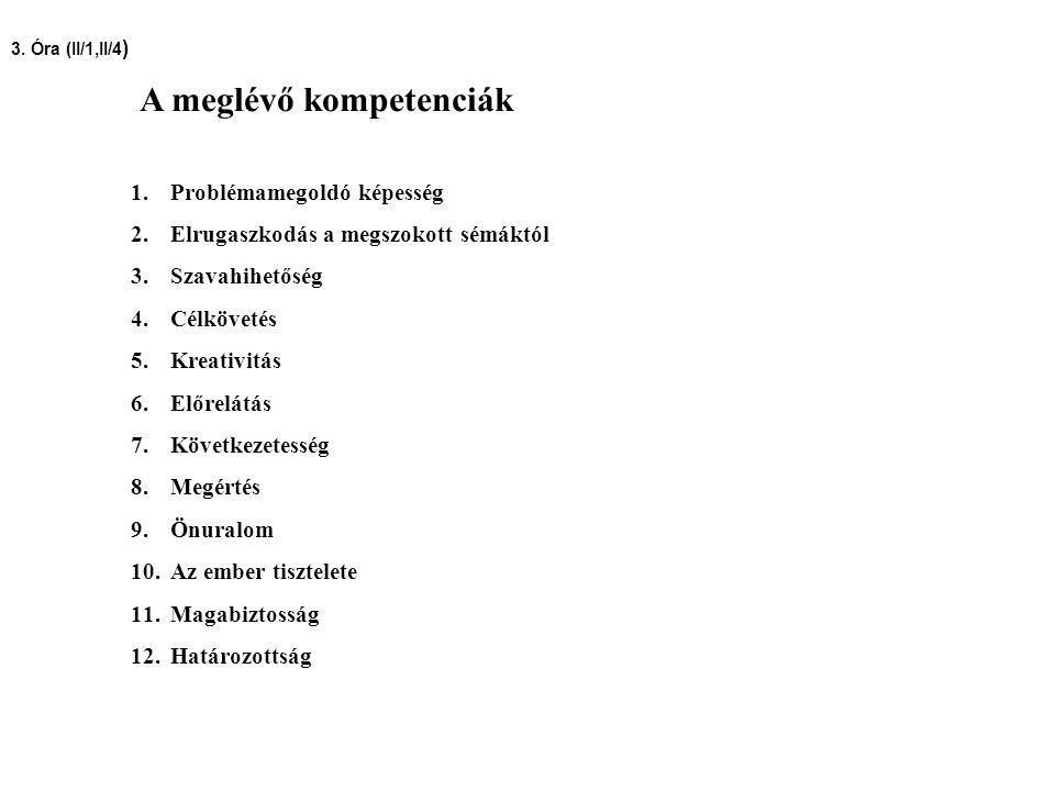 A meglévő kompetenciák 1.Problémamegoldó képesség 2.Elrugaszkodás a megszokott sémáktól 3.Szavahihetőség 4.Célkövetés 5.Kreativitás 6.Előrelátás 7.Köv