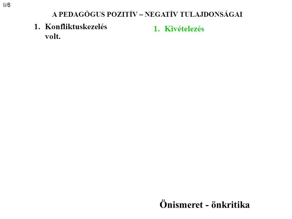 Ii/6 A PEDAGÓGUS POZITÍV – NEGATÍV TULAJDONSÁGAI 1.Kivételezés 1.Konfliktuskezelés volt. Önismeret - önkritika