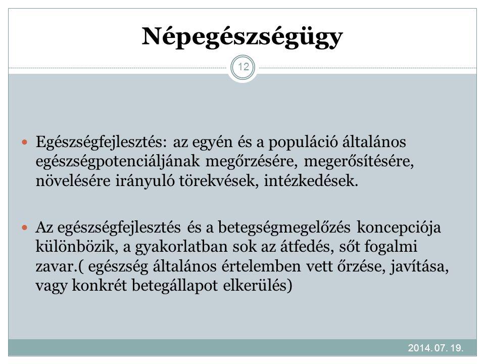 Népegészségügy 2014. 07. 19. 12 Egészségfejlesztés: az egyén és a populáció általános egészségpotenciáljának megőrzésére, megerősítésére, növelésére i