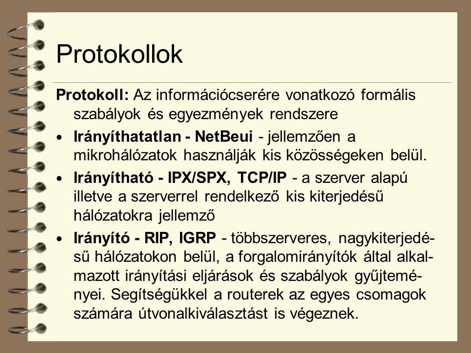 Protokollok Protokoll: Az információcserére vonatkozó formális szabályok és egyezmények rendszere  Irányíthatatlan - NetBeui - jellemzően a mikroháló