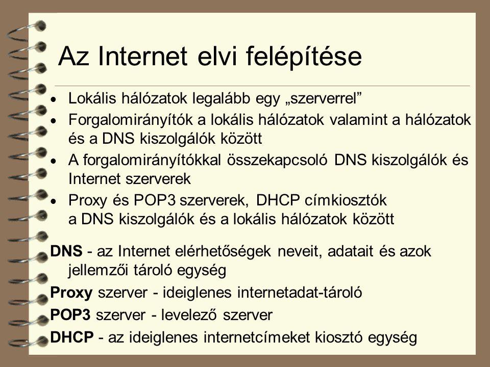 """Az Internet elvi felépítése  Lokális hálózatok legalább egy """"szerverrel""""  Forgalomirányítók a lokális hálózatok valamint a hálózatok és a DNS kiszol"""