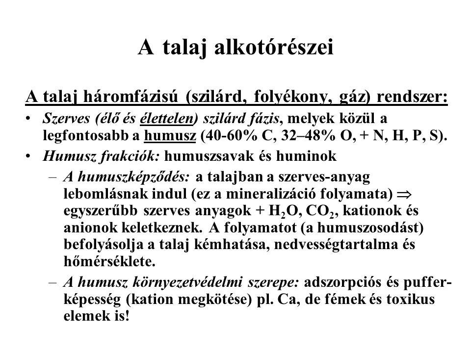 A talaj alkotórészei Szervetlen szilárd fázis szulfidok: pl.