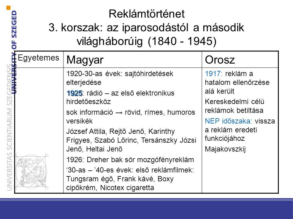 Reklámtörténet 3. korszak: az iparosodástól a második világháborúig (1840 - 1945) Egyetemes MagyarOrosz 1920-30-as évek: sajtóhirdetések elterjedése 1