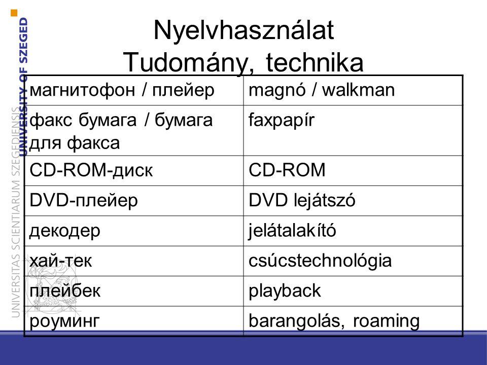 Nyelvhasználat Tudomány, technika магнитофон / плейерmagnó / walkman факс бумага / бумага для факса faxpapír CD-ROM-дискCD-ROM DVD-плейерDVD lejátszó