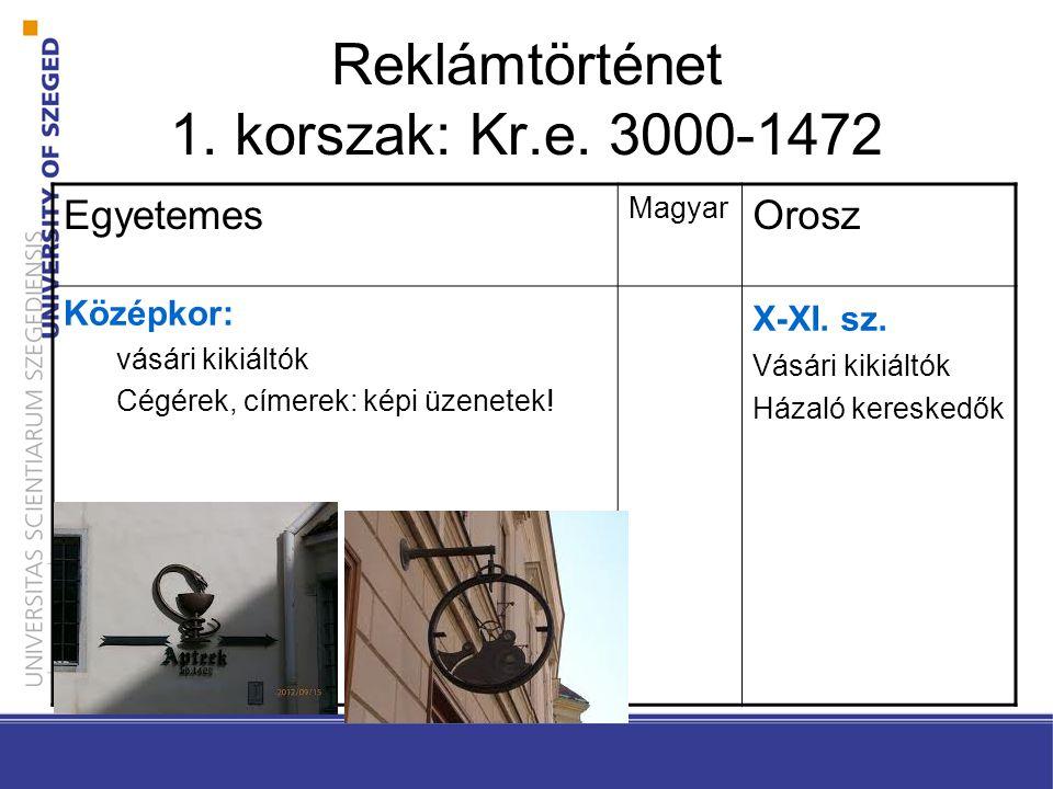 Reklámtörténet 1. korszak: Kr.e. 3000-1472 Egyetemes Magyar Orosz Középkor: vásári kikiáltók Cégérek, címerek: képi üzenetek! X-XI. sz. Vásári kikiált