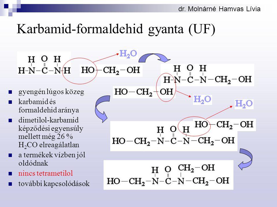 dr. Molnárné Hamvas Lívia Karbamid-formaldehid gyanta (UF) gyengén lúgos közeg karbamid és formaldehid aránya dimetilol-karbamid képződési egyensúly m