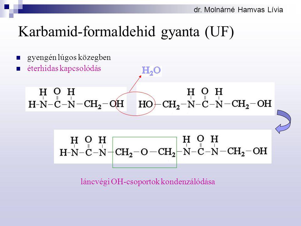 dr. Molnárné Hamvas Lívia Karbamid-formaldehid gyanta (UF) gyengén lúgos közegben éterhidas kapcsolódás láncvégi OH-csoportok kondenzálódása