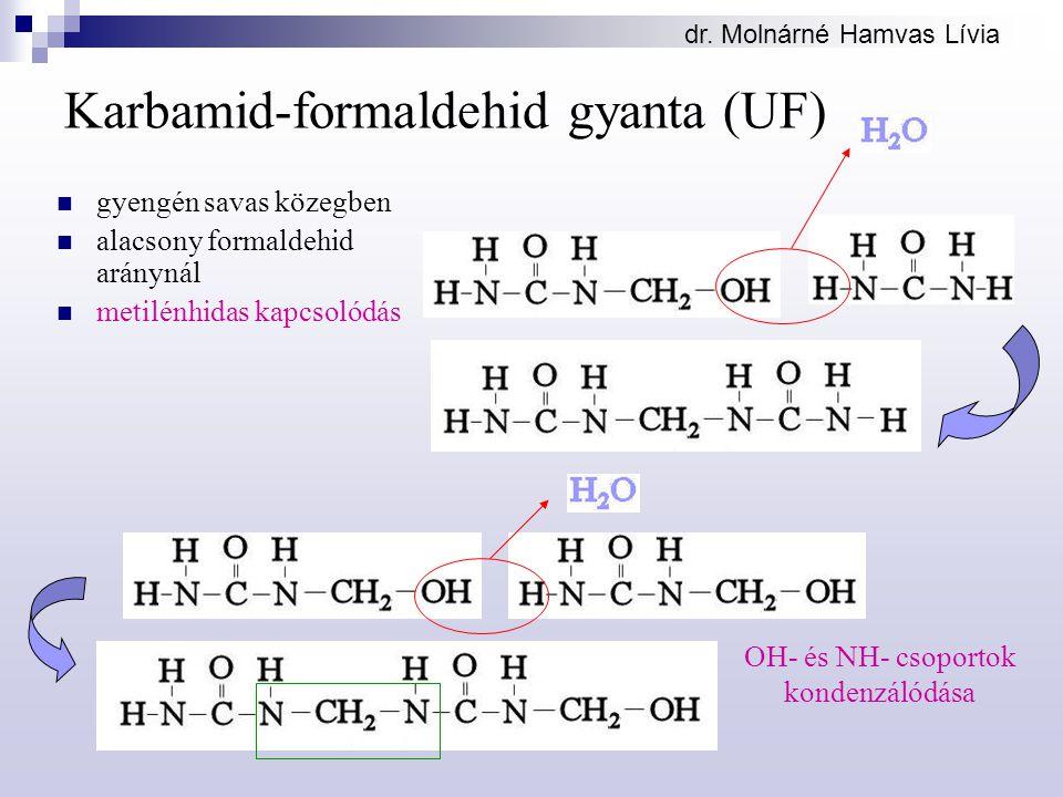 dr. Molnárné Hamvas Lívia Karbamid-formaldehid gyanta (UF) gyengén savas közegben alacsony formaldehid aránynál metilénhidas kapcsolódás OH- és NH- cs