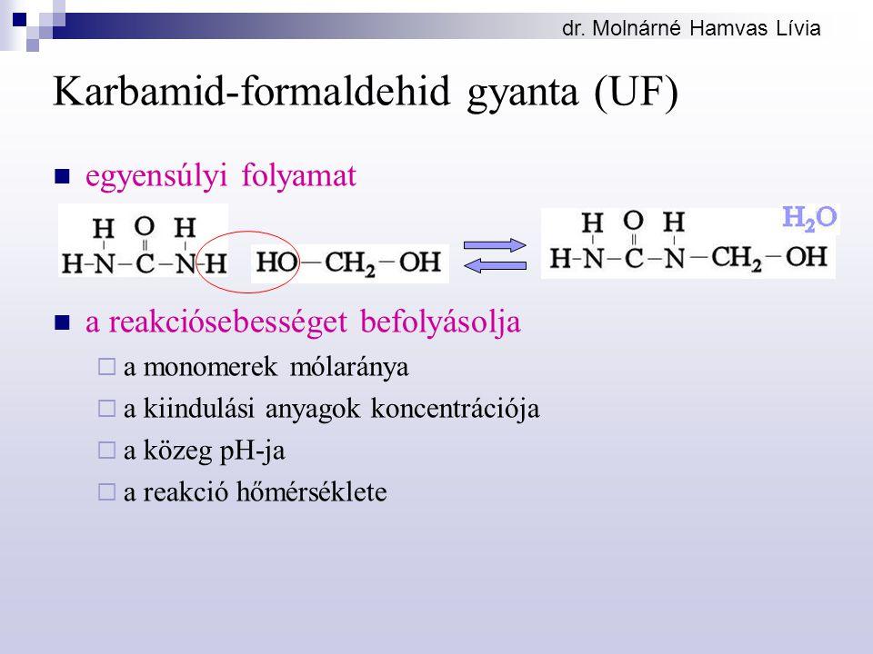 dr. Molnárné Hamvas Lívia Karbamid-formaldehid gyanta (UF) egyensúlyi folyamat a reakciósebességet befolyásolja  a monomerek mólaránya  a kiindulási
