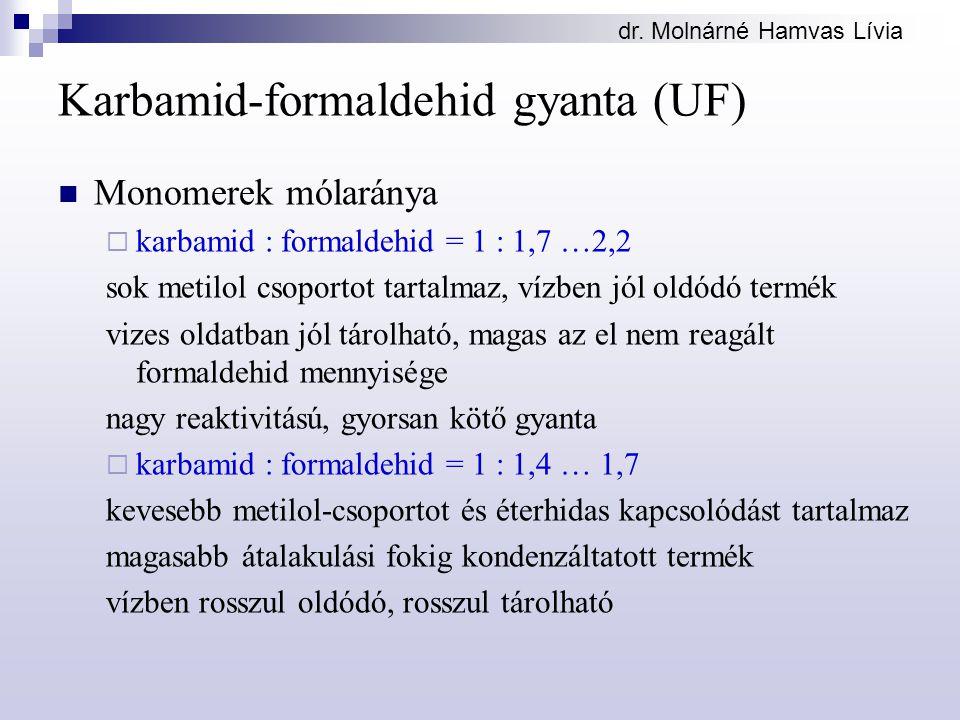 dr. Molnárné Hamvas Lívia Karbamid-formaldehid gyanta (UF) Monomerek mólaránya  karbamid : formaldehid = 1 : 1,7 …2,2 sok metilol csoportot tartalmaz