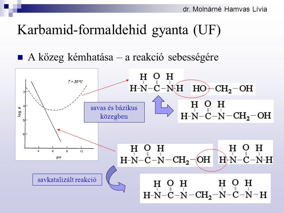 dr. Molnárné Hamvas Lívia Karbamid-formaldehid gyanta (UF) A közeg kémhatása – a reakció sebességére savas és bázikus közegben savkatalizált reakció