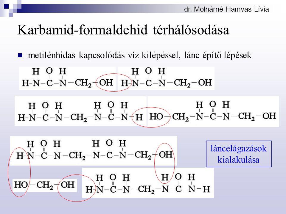 dr. Molnárné Hamvas Lívia Karbamid-formaldehid térhálósodása metilénhidas kapcsolódás víz kilépéssel, lánc építő lépések láncelágazások kialakulása