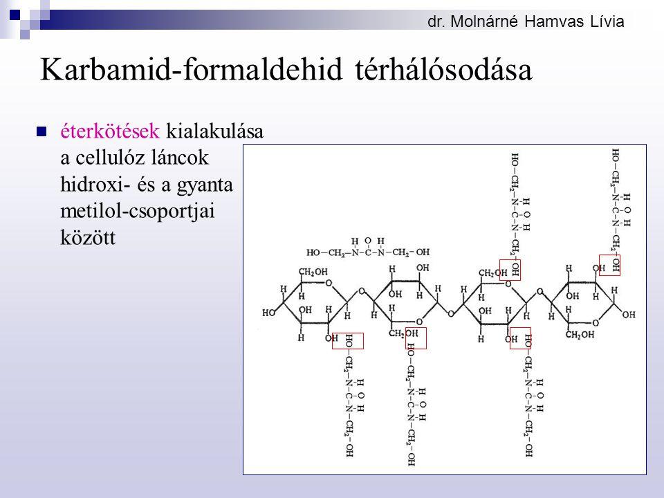 dr. Molnárné Hamvas Lívia Karbamid-formaldehid térhálósodása éterkötések kialakulása a cellulóz láncok hidroxi- és a gyanta metilol-csoportjai között