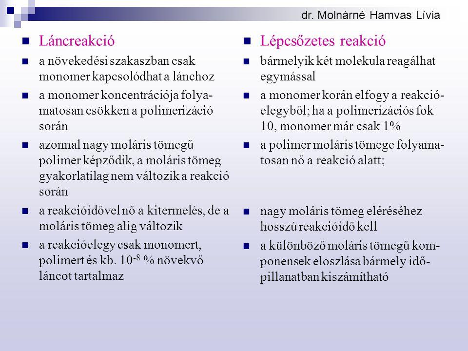 dr. Molnárné Hamvas Lívia Láncreakció a növekedési szakaszban csak monomer kapcsolódhat a lánchoz a monomer koncentrációja folya- matosan csökken a po