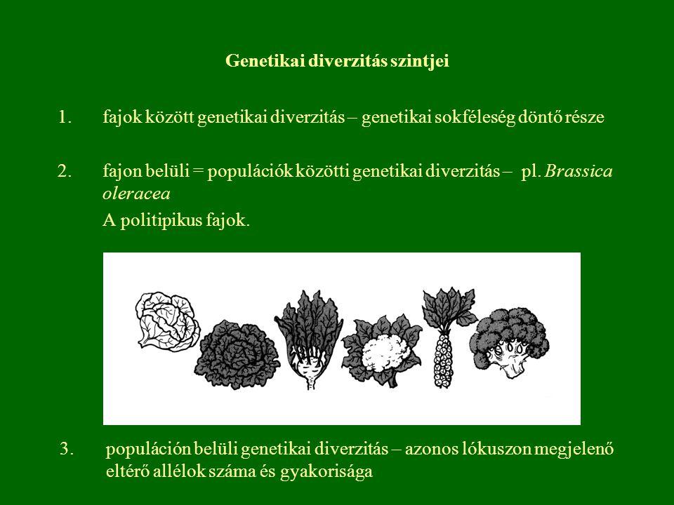 Genetikai diverzitás szintjei 1.fajok között genetikai diverzitás – genetikai sokféleség döntő része 2.fajon belüli = populációk közötti genetikai div