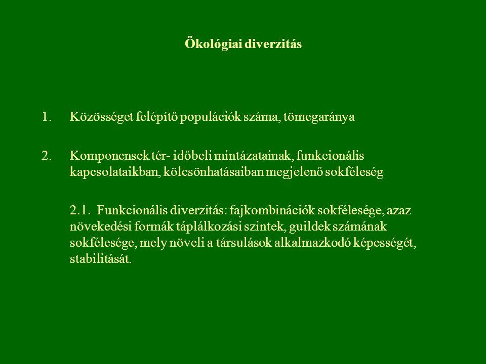 Ökológiai diverzitás 1.Közösséget felépítő populációk száma, tömegaránya 2.Komponensek tér- időbeli mintázatainak, funkcionális kapcsolataikban, kölcs