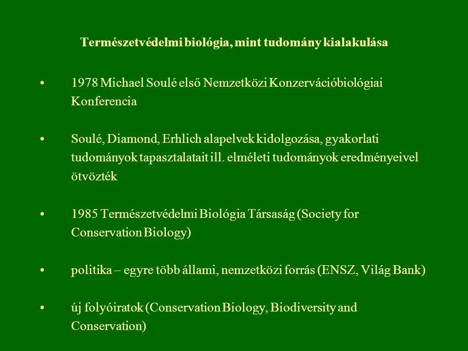 Természetvédelmi biológia, mint tudomány kialakulása 1978 Michael Soulé első Nemzetközi Konzervációbiológiai Konferencia Soulé, Diamond, Erhlich alape