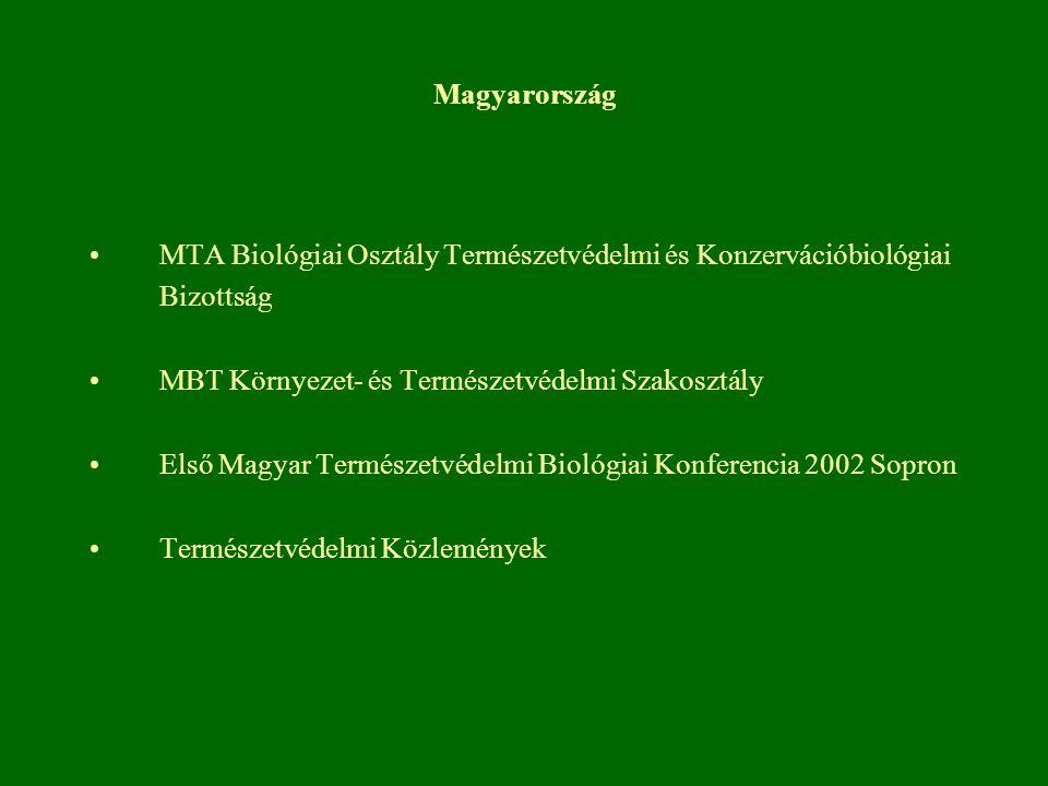 Magyarország MTA Biológiai Osztály Természetvédelmi és Konzervációbiológiai Bizottság MBT Környezet- és Természetvédelmi Szakosztály Első Magyar Termé
