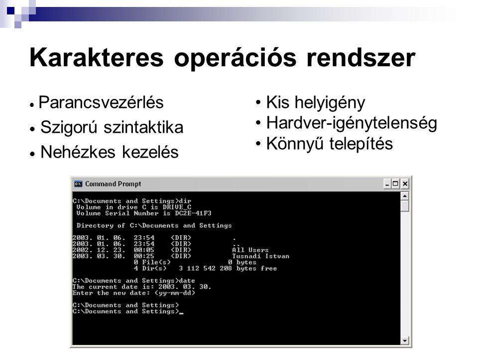 Karakteres operációs rendszer  Parancsvezérlés  Szigorú szintaktika  Nehézkes kezelés Kis helyigény Hardver-igénytelenség Könnyű telepítés