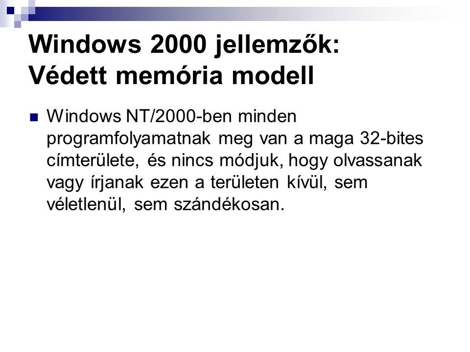 Windows 2000 jellemzők: Védett memória modell Windows NT/2000-ben minden programfolyamatnak meg van a maga 32-bites címterülete, és nincs módjuk, hogy olvassanak vagy írjanak ezen a területen kívül, sem véletlenül, sem szándékosan.