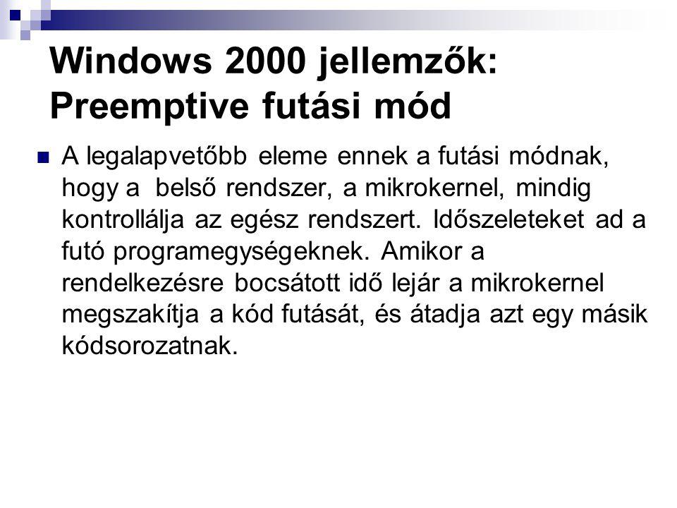 Windows 2000 jellemzők: Preemptive futási mód A legalapvetőbb eleme ennek a futási módnak, hogy a belső rendszer, a mikrokernel, mindig kontrollálja az egész rendszert.