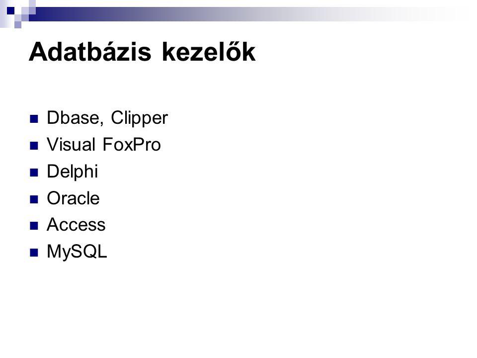 Adatbázis kezelők Dbase, Clipper Visual FoxPro Delphi Oracle Access MySQL