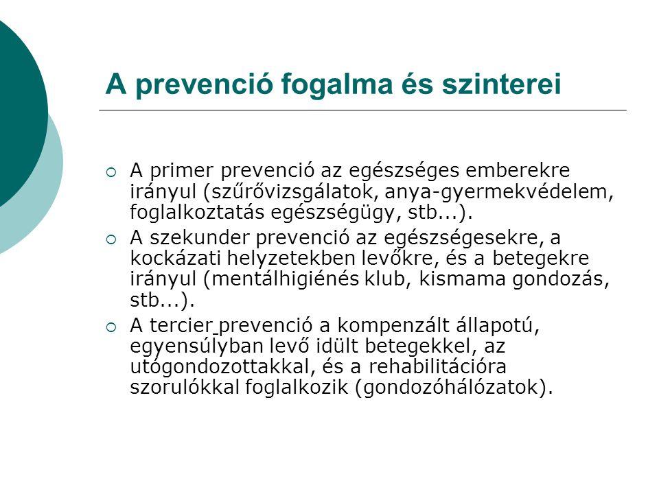 A prevenció fogalma és szinterei  A primer prevenció az egészséges emberekre irányul (szűrővizsgálatok, anya-gyermekvédelem, foglalkoztatás egészségügy, stb...).