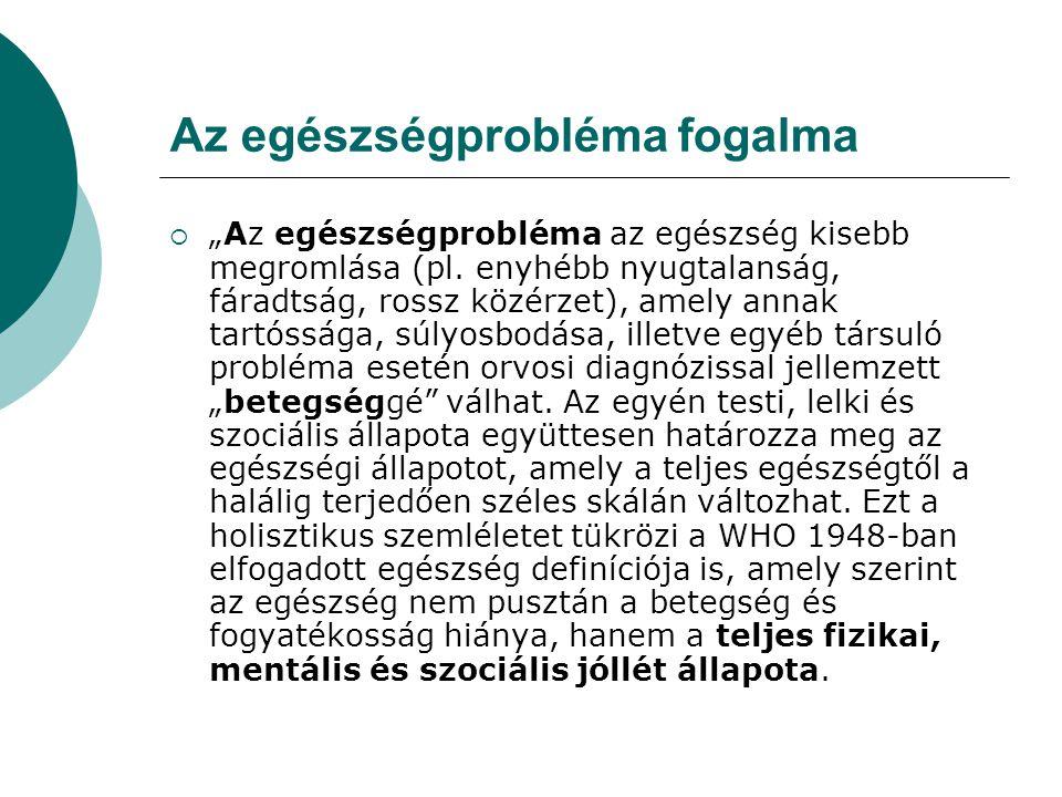 """Az egészségprobléma fogalma  """"Az egészségprobléma az egészség kisebb megromlása (pl."""