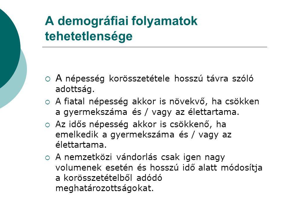 A demográfiai folyamatok tehetetlensége  A népesség korösszetétele hosszú távra szóló adottság.
