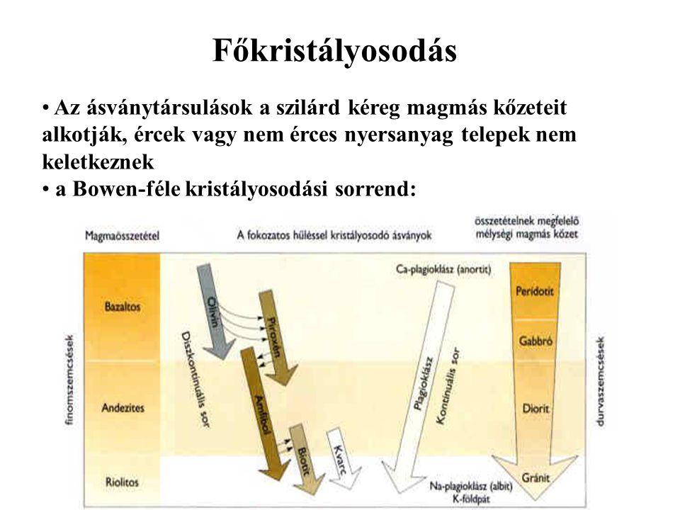 Főkristályosodás Az ásványtársulások a szilárd kéreg magmás kőzeteit alkotják, ércek vagy nem érces nyersanyag telepek nem keletkeznek a Bowen-féle kr