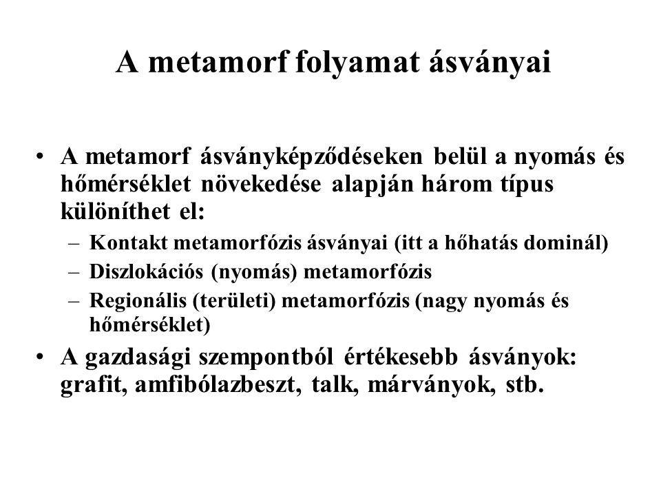 A metamorf folyamat ásványai A metamorf ásványképződéseken belül a nyomás és hőmérséklet növekedése alapján három típus különíthet el: –Kontakt metamo