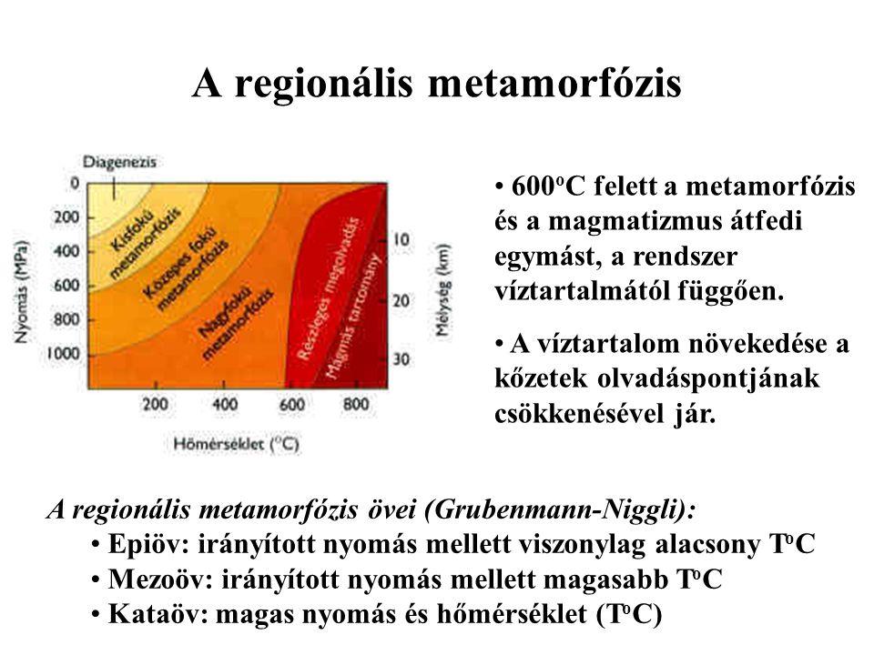 A regionális metamorfózis 600 o C felett a metamorfózis és a magmatizmus átfedi egymást, a rendszer víztartalmától függően. A víztartalom növekedése a
