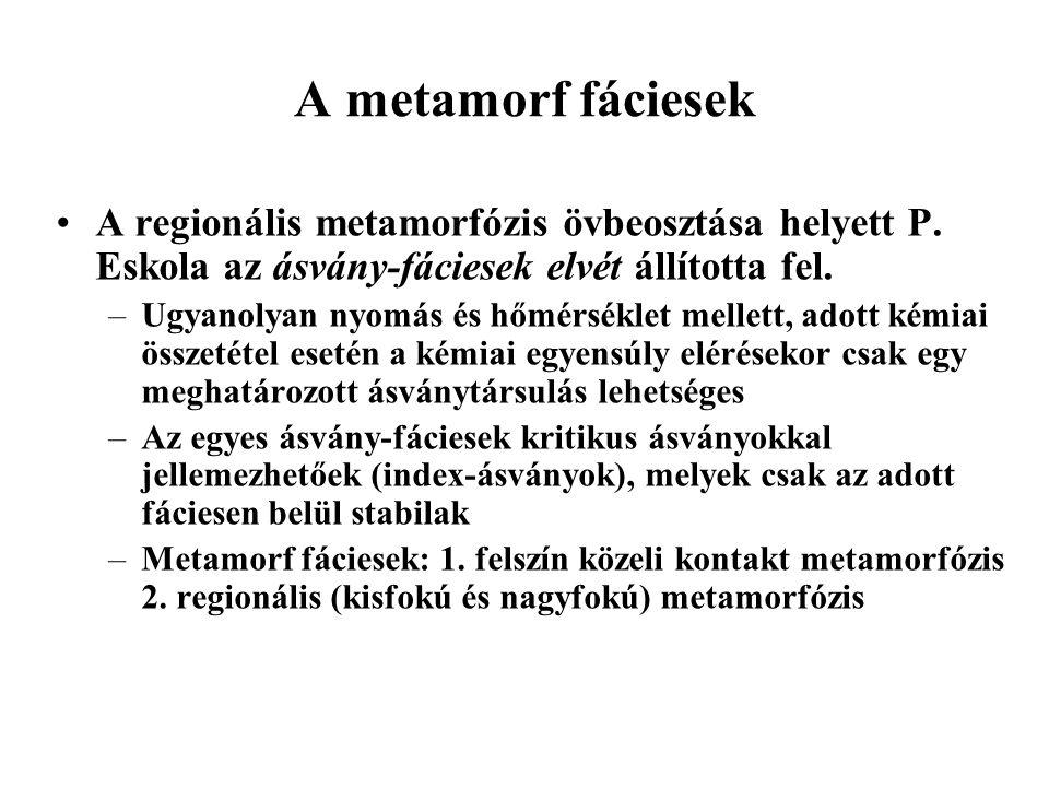 A metamorf fáciesek A regionális metamorfózis övbeosztása helyett P. Eskola az ásvány-fáciesek elvét állította fel. –Ugyanolyan nyomás és hőmérséklet