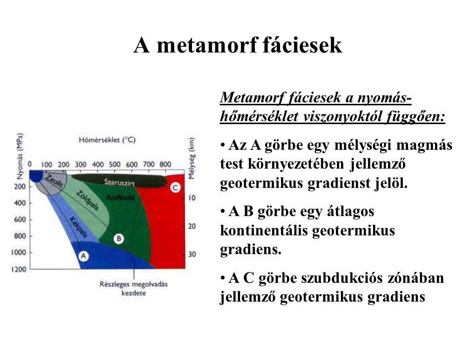 A metamorf fáciesek Metamorf fáciesek a nyomás- hőmérséklet viszonyoktól függően: Az A görbe egy mélységi magmás test környezetében jellemző geotermik