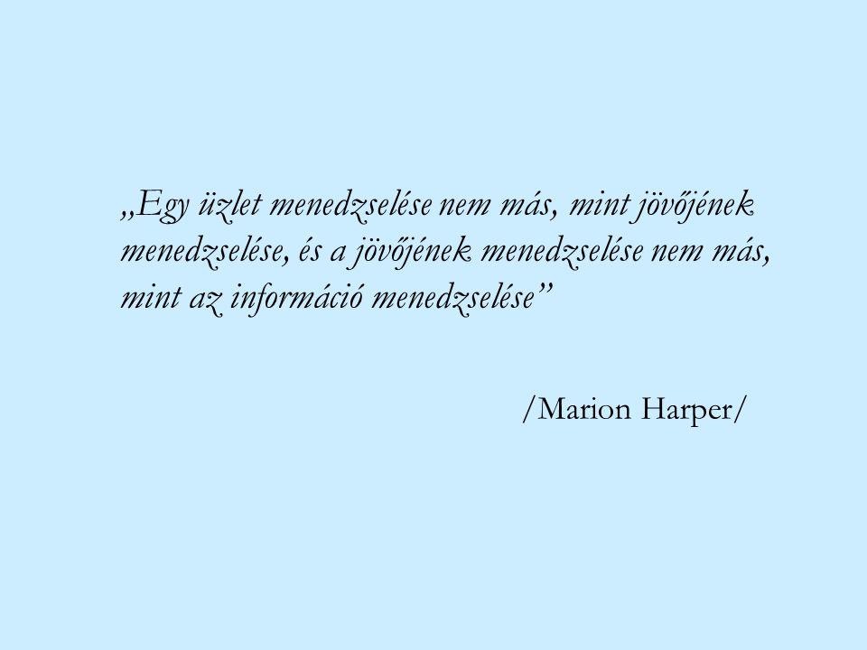 """""""Egy üzlet menedzselése nem más, mint jövőjének menedzselése, és a jövőjének menedzselése nem más, mint az információ menedzselése"""" /Marion Harper/"""