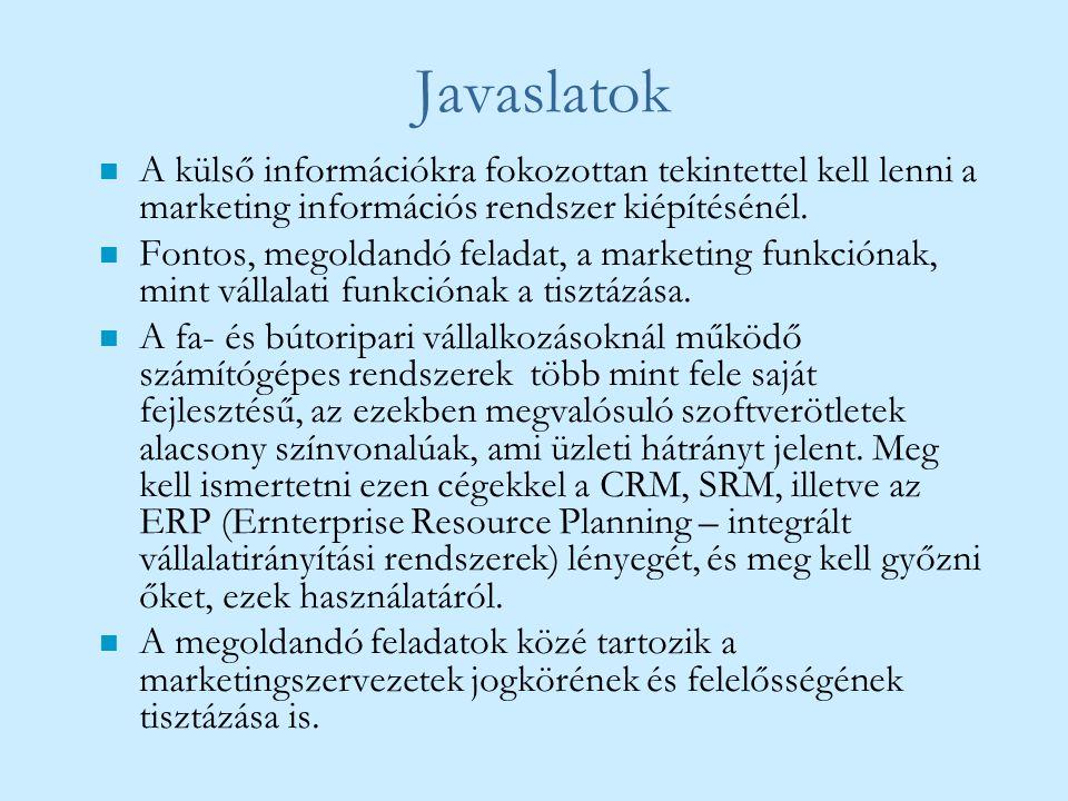 Javaslatok n A külső információkra fokozottan tekintettel kell lenni a marketing információs rendszer kiépítésénél. n Fontos, megoldandó feladat, a ma