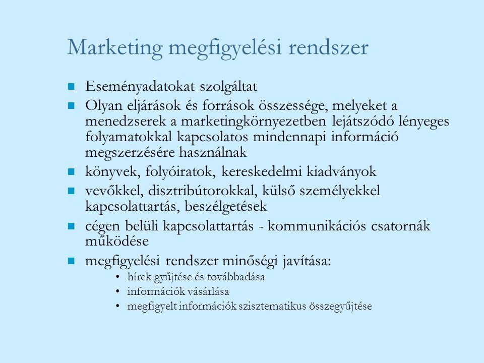 Marketing megfigyelési rendszer n Eseményadatokat szolgáltat n Olyan eljárások és források összessége, melyeket a menedzserek a marketingkörnyezetben
