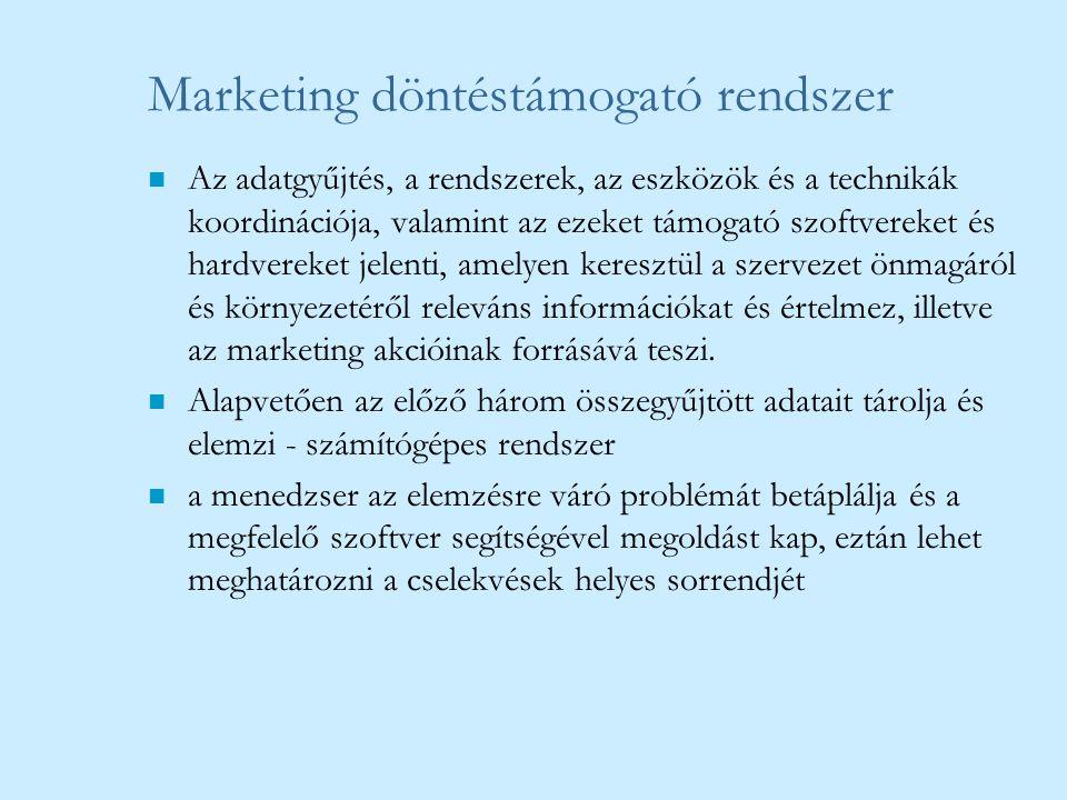 Marketing döntéstámogató rendszer n Az adatgyűjtés, a rendszerek, az eszközök és a technikák koordinációja, valamint az ezeket támogató szoftvereket é