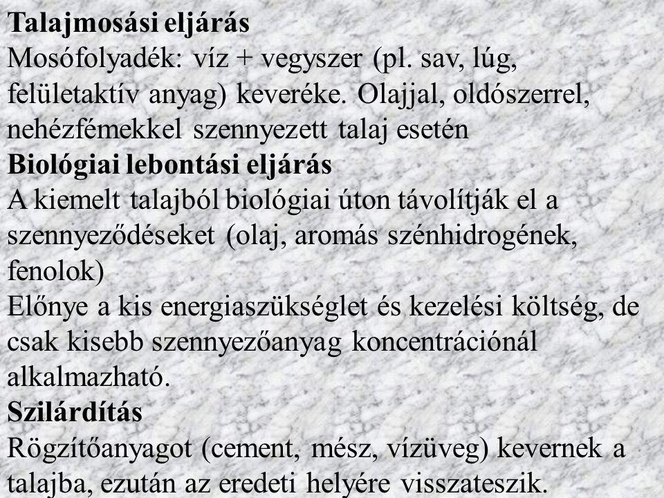 Talajmosási eljárás Mosófolyadék: víz + vegyszer (pl.