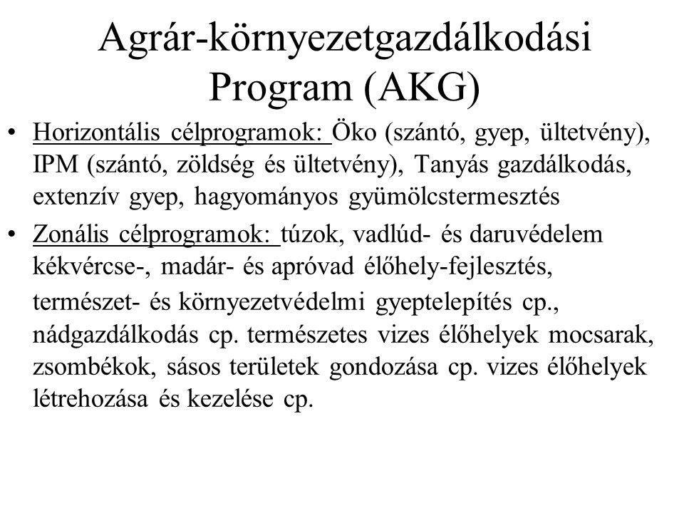 Agrár-környezetgazdálkodási Program (AKG) Horizontális célprogramok: Öko (szántó, gyep, ültetvény), IPM (szántó, zöldség és ültetvény), Tanyás gazdálkodás, extenzív gyep, hagyományos gyümölcstermesztés Zonális célprogramok: túzok, vadlúd- és daruvédelem kékvércse-, madár- és apróvad élőhely-fejlesztés, természet- és környezetvédelmi gyeptelepítés cp., nádgazdálkodás cp.