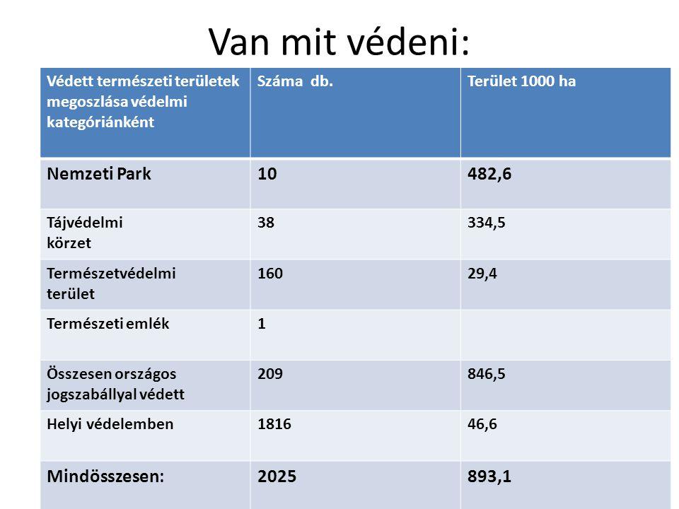 Van mit védeni: Védett természeti területek megoszlása védelmi kategóriánként Száma db.Terület 1000 ha Nemzeti Park10482,6 Tájvédelmi körzet 38334,5 Természetvédelmi terület 16029,4 Természeti emlék1 Összesen országos jogszabállyal védett 209846,5 Helyi védelemben181646,6 Mindösszesen:2025893,1