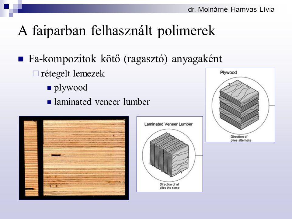 dr. Molnárné Hamvas Lívia A faiparban felhasznált polimerek Fa-kompozitok kötő (ragasztó) anyagaként  rétegelt lemezek plywood laminated veneer lumbe
