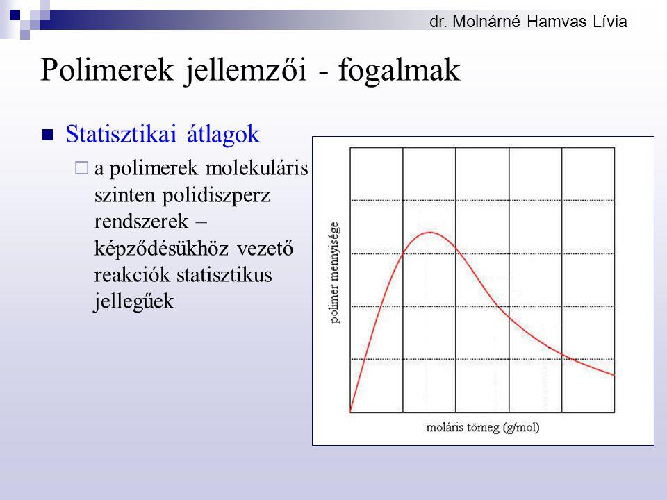 dr. Molnárné Hamvas Lívia Polimerek jellemzői - fogalmak Statisztikai átlagok  a polimerek molekuláris szinten polidiszperz rendszerek – képződésükhö