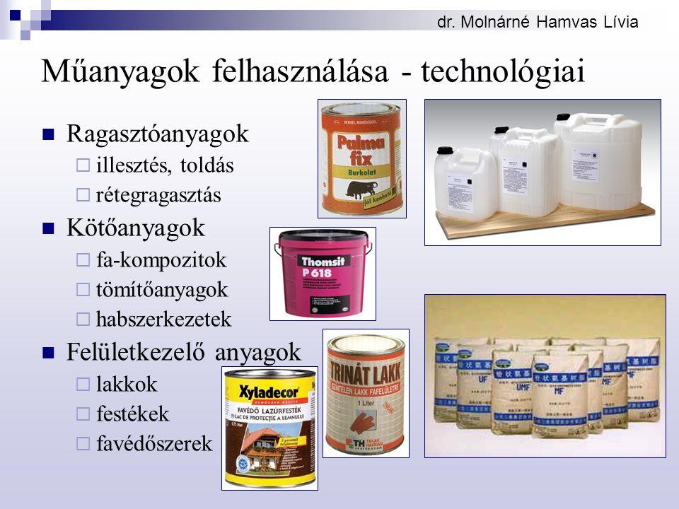 dr. Molnárné Hamvas Lívia Műanyagok felhasználása - technológiai Ragasztóanyagok  illesztés, toldás  rétegragasztás Kötőanyagok  fa-kompozitok  tö