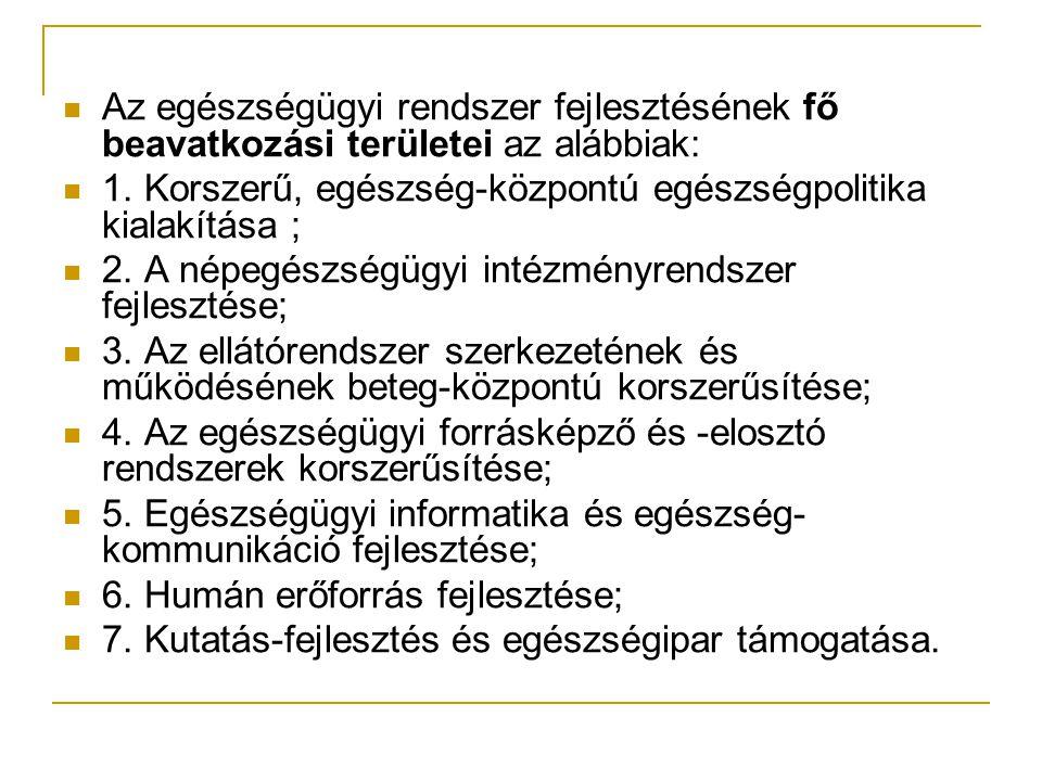 Az egészségügyi rendszer fejlesztésének fő beavatkozási területei az alábbiak: 1.